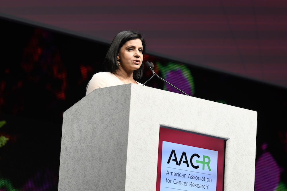 Leena Gandhi speaking at AACR18